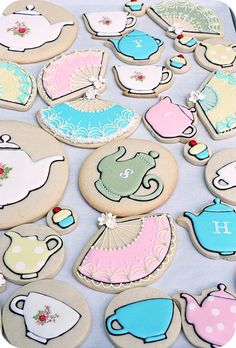 Tea Party Decorated Cookies | DIY Cookie Decoration Inspiration for Kids Tea Party by DIY Ready at http://diyready.com/kids-tea-party-ideas/