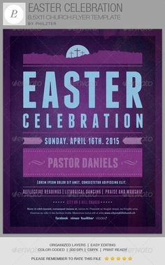 The Easter Celebration Church Flyer Template is great for any Contemporary Church Event. The template can be used for Pageants, Musicals, Sermons, Gospel Concerts, Youth programs, etc. In this package you'll find 1 Photoshop file. all layers are arranged, color coded and simple to edit. The template also contains seven one-click color options for flexibility in your design.