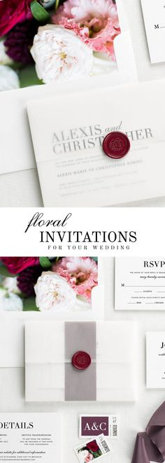 The Urban Glamour wedding invitation suite is paired with Scarlett florals. Scarlett features blush and red garden roses, burgundy dahlias, and pink lisianthus.
