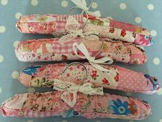 Pretty pink patchwork covered hangers in my shop tonight