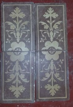 4 Antique Encaustic red clay Tiles Made by MINTON PATENT STROKE upon TRENT