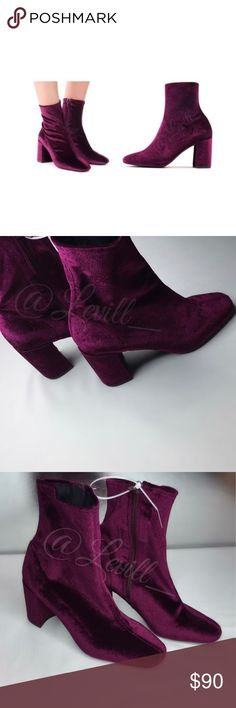 """🎀Jeffrey Campbell Velvet Cienega Ankle Boot © Details Faux suede is crafted into a sleek block heel booty perfect for boosting your cool weather wardrobe.  Sizing: True to size.  - Almond toe - Solid vamp - Side zip closure - Chunky heel - Approx. 9"""" shaft height - Approx. 3.25"""" heel height - Imported Jeffrey Campbell Shoes Ankle Boots & Booties"""