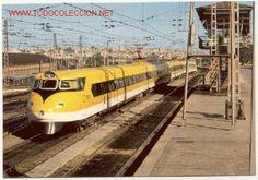 Magnifica postal: Electrotren Basculante, prototipo de RENFE a la salida de Madrid - Atocha