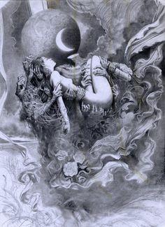 Dark and Surreal Art by Miles Johnston - Digital Art Mix Dark Fantasy Art, Dark Art, Art And Illustration, Art Inspo, Miles Johnston, Art Noir, Arte Peculiar, Arte Obscura, Occult Art
