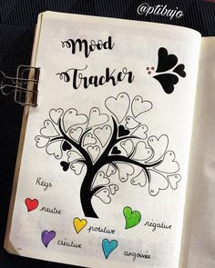 Bullet journal monthly mood tracker, tree drawing, tree with heart leaves drawing. | @ptibujo