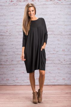 """Daring Dreamer Dress, Black"" Darling, we know you know you have been dreaming of a fabulous dress that is also super comfy! Well, dream no more because it is here!  #Newarrivals #shopthemint"