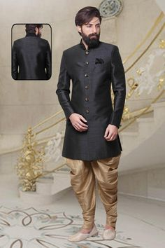 Indian kurta for Men Wedding Designer Ethnic Readymade Black Color Silk  Fabric Mens Indo Western