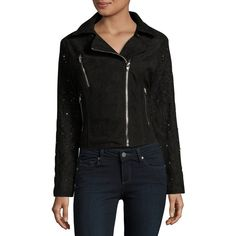Buffalo David Bitton Embellished Faux Suede Moto Jacket ($96) ❤ liked on Polyvore featuring outerwear, jackets, black, long sleeve jacket, faux suede biker jacket, embroidered jacket, embellished jacket and layered jacket