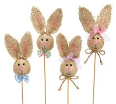 Burlap Bunny Head Pick Assortment, Floral Display Set of 4 Festive Party Decoration Supplies Bunny Crafts, Easter Crafts For Kids, Easter Ideas, Easter Bunny Decorations, Easter Wreaths, Burlap Crafts, Burlap Projects, Sewing Projects, Kanzashi