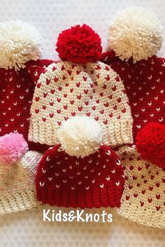 Cute Little Heart Hats With Free Patterns For All Ages