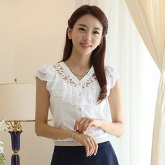 Gratis Nuevo blusas del verano del envío para las mujeres 2014 mujeres de la oficina de la manera elegante del cordón y de la colmena de la gasa de la camisa Negro / Blanco F30850