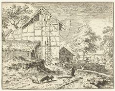 Allaert van Everdingen   Boerenerf met twee ladders, Allaert van Everdingen, 1631 - 1675   Gezicht op een boerenerf met op de voorgrond drie scharrelende zwijnen en een man zittend op een boomstam. Tegen een hoge schuur staan twee ladders.