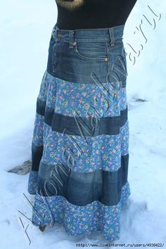 Tutorial - denim and fabric skirt  Like this idea for a casual skirt but I would choose different fabric than the blue floral