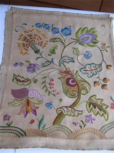 Stunning Jacobean Hand Embroidery Vintage Linen Panel   from ebay