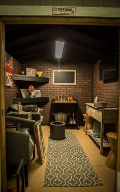 Even a small shed can make a great Man Cave! This shed still has space for a bar cart, flatscreen, and seating for your and your friends. Source by tuffshed The post Design a Man Cave Worthy of a Grunt appeared first on Dua DIY Decorating. Man Cave Shed, Man Cave Room, Man Cave Diy, Man Cave Basement, Man Cave Home Bar, Man Cave Garage, Tiny Man Cave Ideas, Man Cave Inspiration, Man Cave Office