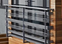 North Mercer Island Residence Railings - Avenue Iron Inc. Balcony Glass Design, Balcony Grill Design, Balcony Railing Design, Window Grill Design, Iron Window Grill, House Main Gates Design, House Roof Design, Steel Railing Design, Modern Stair Railing