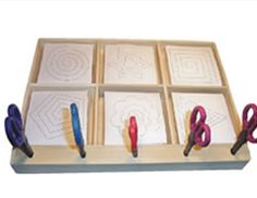 Cutting Exercise possibly tray work to add in ch. Montessori Practical Life, Montessori Classroom, Montessori Toddler, Montessori Materials, Montessori Activities, Motor Activities, Preschool Activities, Early Learning, Kids Learning