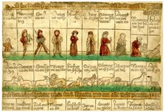 "1482, hand-coloured woodcut, ""The Ten Ages of Man"" chart, with associated animals and witty text."
