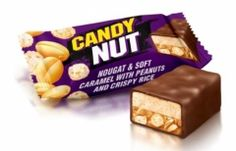 Конфеты CANDY NUT нуга и мягкая карамельс арахисом и хрустящим рисом 160 г  Рошен    Цукерки CANDY NUT нуга и мяка карамель з арахісом та хрустким рисом 160 г Рошен