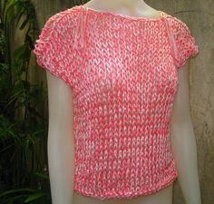 Blusa tejida con dos agujas con hilado de seda por ruecavellon