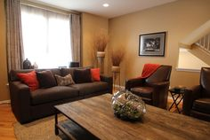 Orange Accents, Damask Curtains & Natural Woven Area Rug - Rustic Living-room By Eye To Eye Interiors, Llc