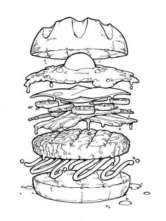 Coloring book: Coloring pages for egg toss Online Coloring Pages, Colouring Pages, Coloring Books, Egg Coloring, Burger Drawing, Food Drawing, Food Illustrations, Illustration Art, Art Sketches