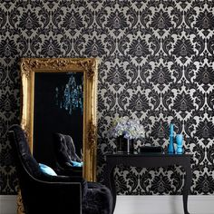 Graham & Brown Superfresco Easy Majestic Black and Gold Wallpaper (415 SEK) ❤ liked on Polyvore featuring home, home decor, wallpaper, black home decor, contemporary wallpaper, graham brown wallpaper, damask home decor and black damask wallpaper