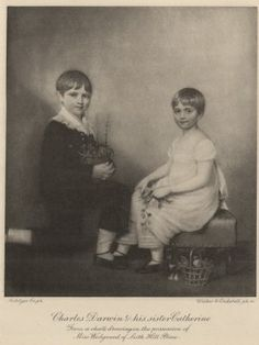 Charles Darwin, aged nine, and his sister Catherine.  The original is on display at Down House.