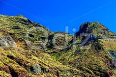 Qdiz Stock Photos | Road high in mountain,  #blue #Canary #day #high #island #landscape #mountain #nature #road #rock #sky #Spain #spring #summer #Tenerife