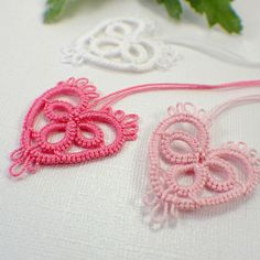 Pinks and white heart tatting motif embellishment applique lace. $4.50, via Etsy.