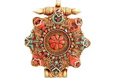 Tibetan Gau Prayer Box Turquoise Coral Gold-Washed Silver