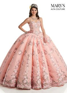 You will look and feel like a princess at your quinceanera while wearing this ball gown dress by Mary's. Featured is a flattering fitted corset b. Ball Gown Dresses, 15 Dresses, Couture Dresses, Pageant Dresses, Gown Skirt, Chiffon Dresses, Fall Dresses, Fashion Dresses, Pretty Quinceanera Dresses