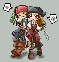 Chibi Jack and Elizabeth by blackbutterflyxd Jack Sparrow Dibujo, Johnny Depp, Jack Sparrow Tattoos, Chibi, Jack And Elizabeth, Elizabeth Swann, Pocket Princesses, Disney Cast, Caricature