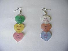 Conversation heart earrings made w/ Shrinky Dinks
