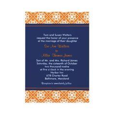 Asian Floral Wedding Invitation Orange Navy Blue by ImbueYou