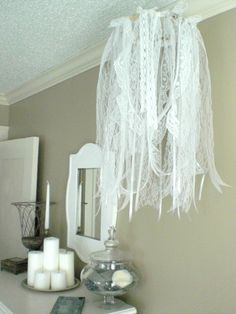 12th and White: DIY Ribbon and Lace Chandelier