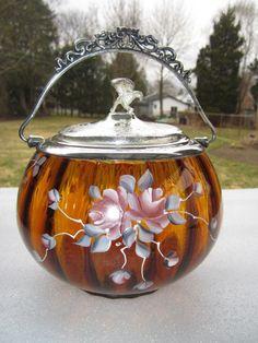 Victorian Enamel Amber Glass Biscuit Cracker Jar Eagle Silver Lid Ornate Handle | eBay