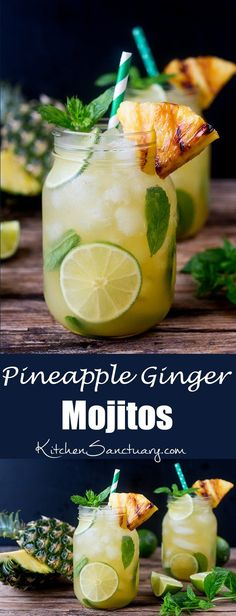 Pineapple Ginger Mojitos with Spiced Rum - a sweet and spicy twist on the classic mojito cocktail. Served with a wedge of caramelized pineapple. (bbq pineapple rum)