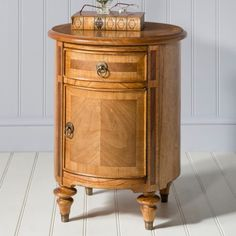 Style Drum Side Cabinet  Blonde European walnut with intricate inlays, antiqued hand wax finish…