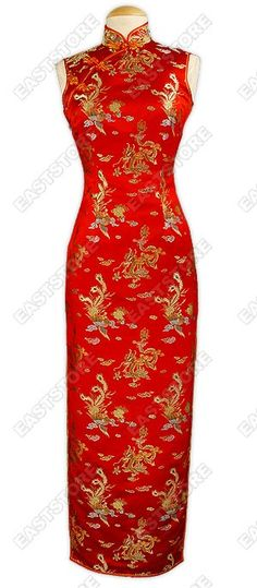 Full of traditional taste, this fantastic Dragon and Phoenix Silk Brocade Cheongsam is designed...