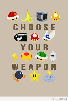 "Nerd alert: Nintendo Mario Kart ""Choose Your Weapon"" Nintendo Mario Kart, Nintendo Room, Mario Wii, Nintendo Party, Nintendo Games, Mario Party, Mario Birthday Party, Sonic Birthday, 30th Birthday"