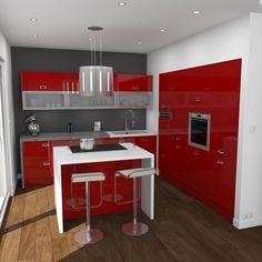 Cuisine rouge brillante ouverte, implantation en L avec ilot central, plan de travail béton gris clair, plan et jambage de l'ilot de couleur blanche, meuble haut moderne avec porte vitrée – www.oskab.com