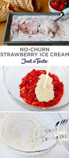 No-Churn Strawberry Ice Cream recipe from justataste.com #recipe #nochurnicecream