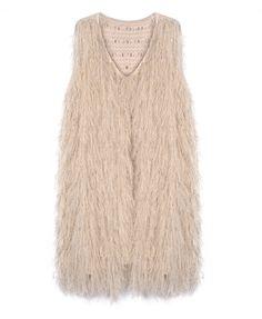 Long Wool V-neckline Sleeveless Knitted Vest