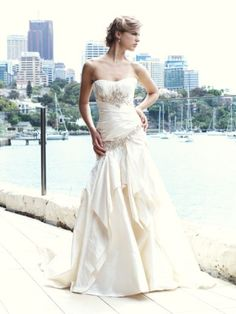 Drop-Waist Culture Bridal Couture - I love the layering of the crisp fabric.