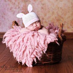 cad6190ac53 Little Bunny Pink Newborn Beanie Baby Hat Newborn Beanie