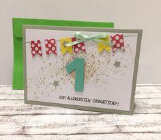 Glückwunschkarten - Karte zum 1. Geburtstag BANNER - ein Designerstück von POMMPLA bei DaWanda