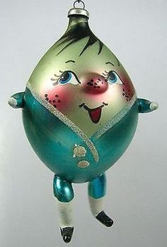 Vintage HUMPTY DUMPTY Figurine - Italian Mercury Glass Christmas Ornament.