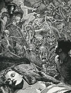 the-october-country: Lawrance Sterne Stevens, Virgil Finlay illustrated 'The Homecoming' by Ray Bradbury for Famous Fantastic Mysteries in December Arte Horror, Horror Art, Dark Fantasy Art, Dark Art, Satanic Art, Bizarre, Mystique, Vintage Horror, Art Graphique