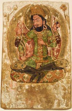 Turkish Uigur budist fresco, Khotan Similar to Turkish balbal/tashbaba. Crosslegged sitting and holding something (like an oath cup).